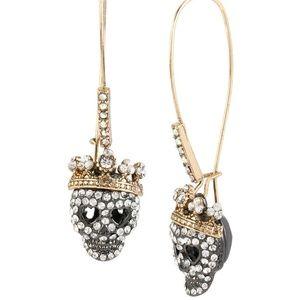 "Betsey Johnson Jewelry - Betsey Johnson ""Dark Shadows"" Pave Skull Earrings"